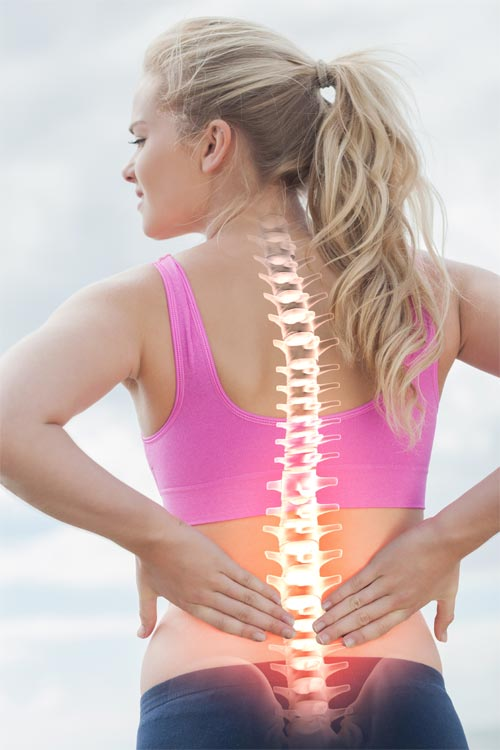 Active Young Woman with Back Pain