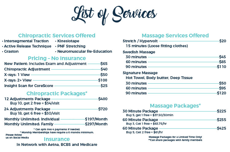 Chiropractic Naperville IL Pricing